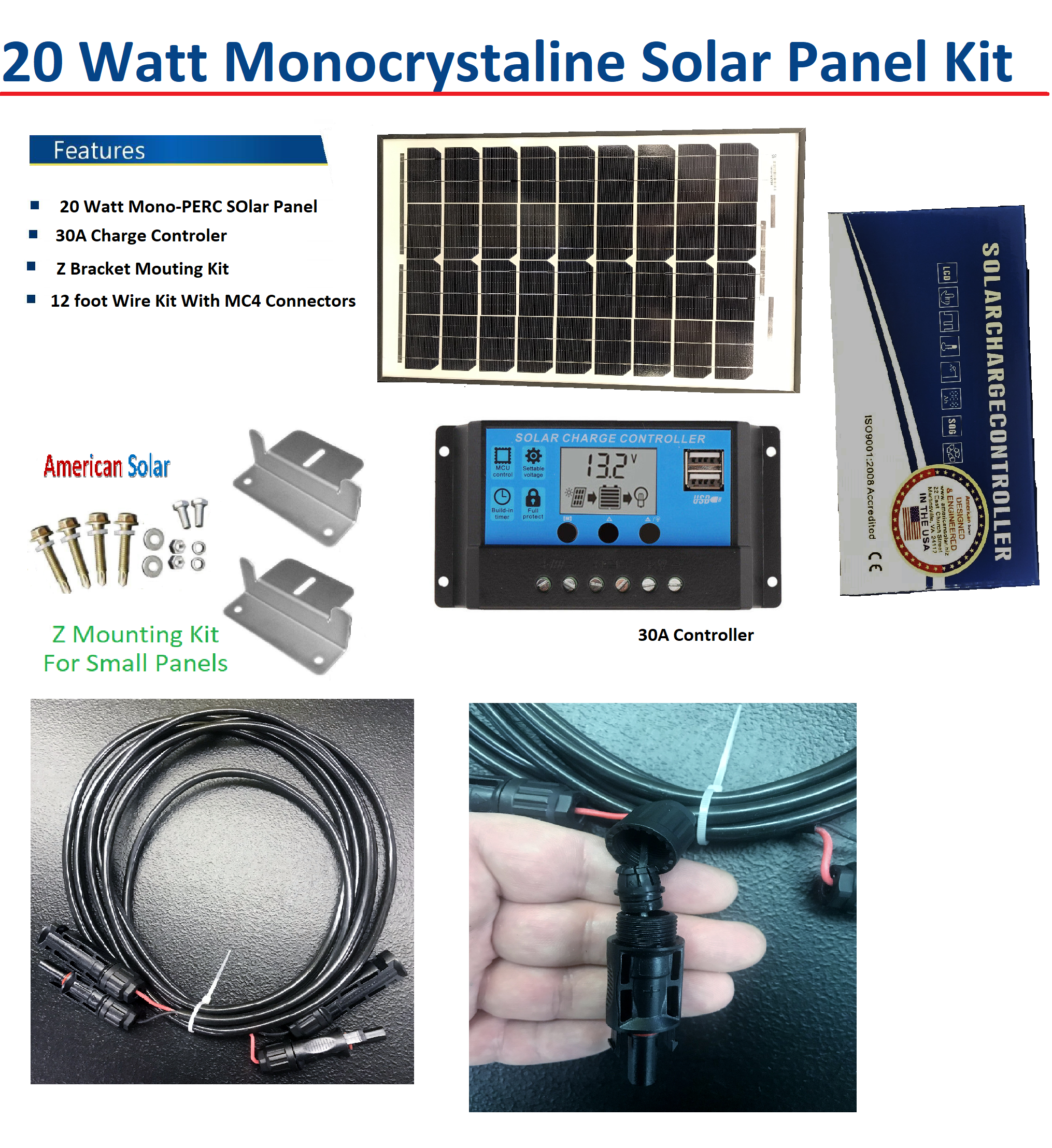 100 watt solar kit 1 30a Charge Controller 2#sets Z brackets